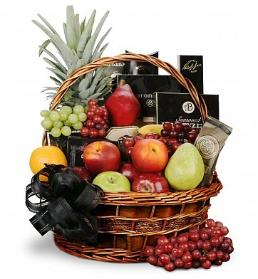 Food & Fruit Baskets: With Sympathy Fruit and Gourmet Basket